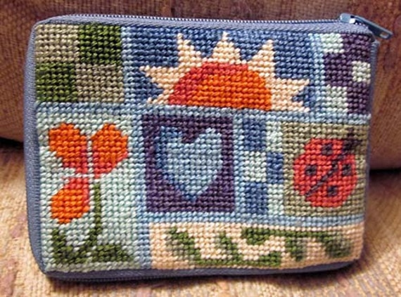 Country Themed Wallet / Drivers License Holder / Coin Purse / Needlepoint Wallet / Blue Wallet / Wallet for Woman / Small Gift for Friend