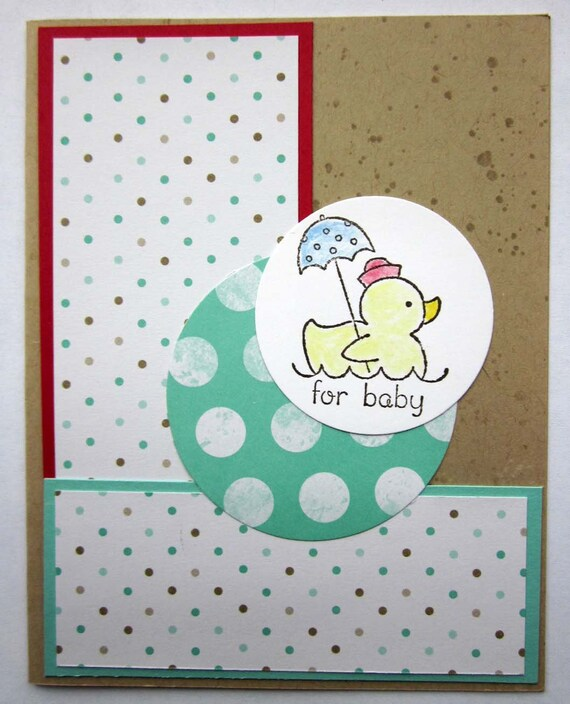 Baby Gift card; baby shower card; new baby card; gender neutral baby card; handmade Stampin' Up! baby card