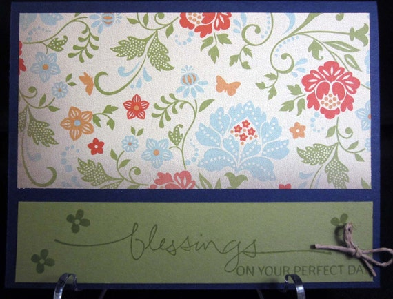 Handmade Wedding Card Wishing Blessings on their perfect day with floral paper and rich blue background; Stampin Up Wedding Card