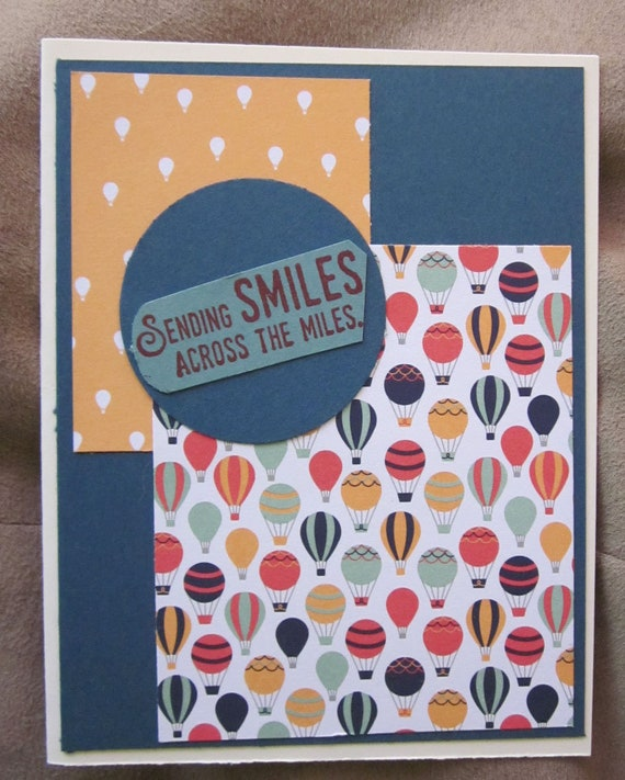 "Handmade Greeting Card with phrase ""sending smiles across the miles""; Stampin' Up! hello card; smile card; from a distance card"
