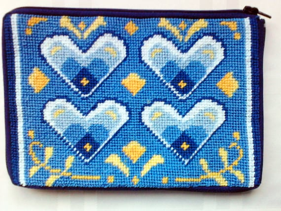 Cosmetic Case / Delft Heart Needlepoint Pouch / Stitch and Zip needlepoint / purse / pouch for handbag