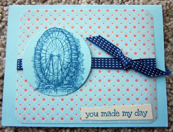 Handmade greeting card with Ferris wheel; You Made My Day card; handmade thank you card; Stampin' Up! Thank you card