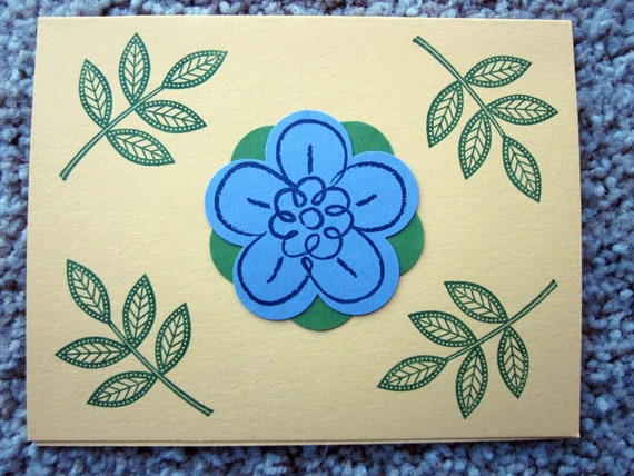 Handmade Blank Note Card; handmade Stampin' Up! greeting card; blank flower and leaves card