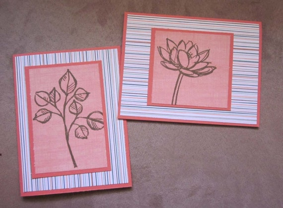 Set of 2 Blank Handmade Notecards; Clean and Simple Handmade Blank Note Cards; Perfect for Gardener or Nature Lover