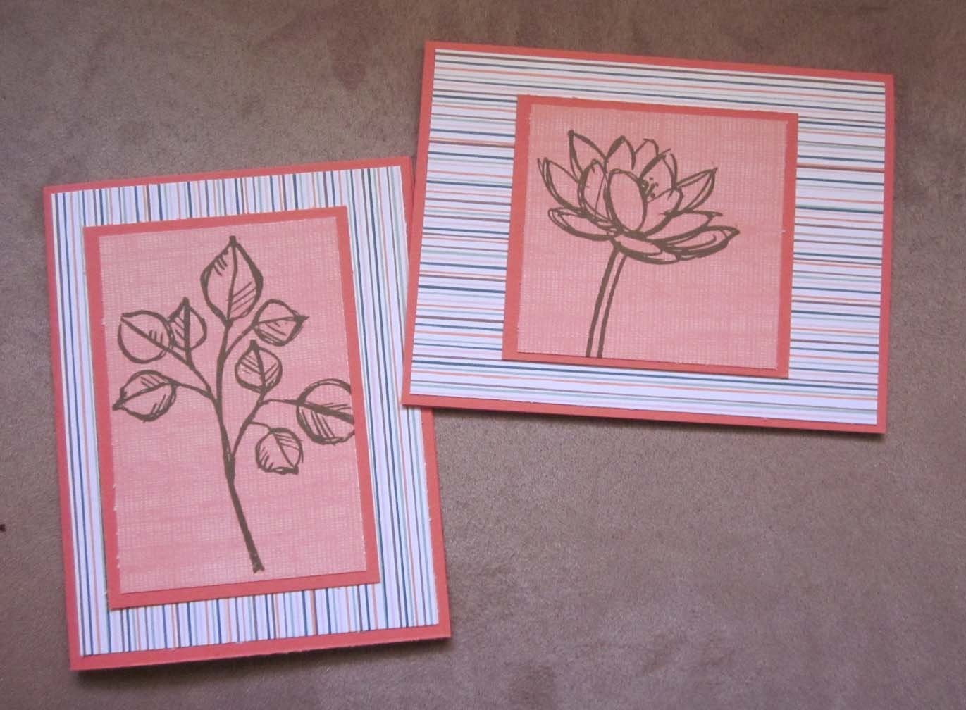set of 2 blank handmade notecards clean and simple