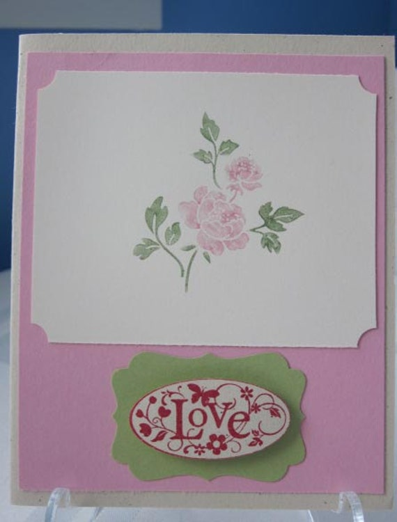Handmade Love Greeting Card with Rose in Pink Red and Green; Card for Wedding; Wedding Card; Love Card