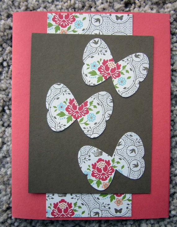 Handmade Floral Patterned Butterfly Card; blank inside; Stampin' Up! blank card