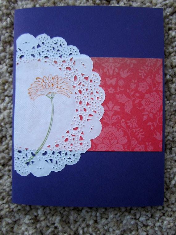 Handmade Floral Card; blank inside; blank card great for gardener; blank flower card