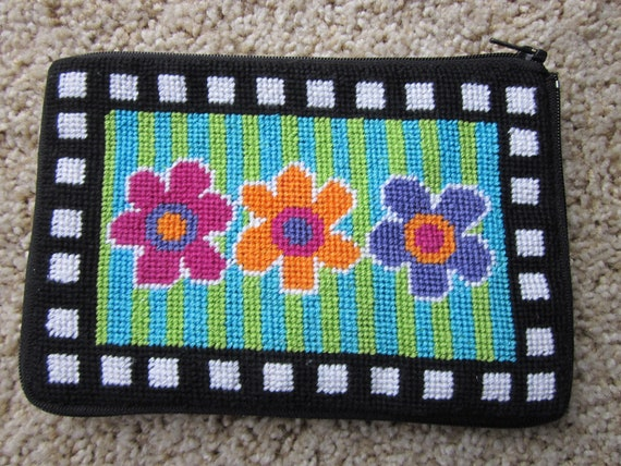 Cosmetic Case / Flowered Needlepoint Pouch / Stitch and Zip needlepoint / purse / pouch for handbag / gift for gardener