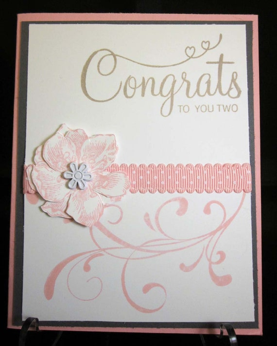 Handmade Wedding Card in pink and white; Stampin' Up! wedding card; bridal shower card; engagement card