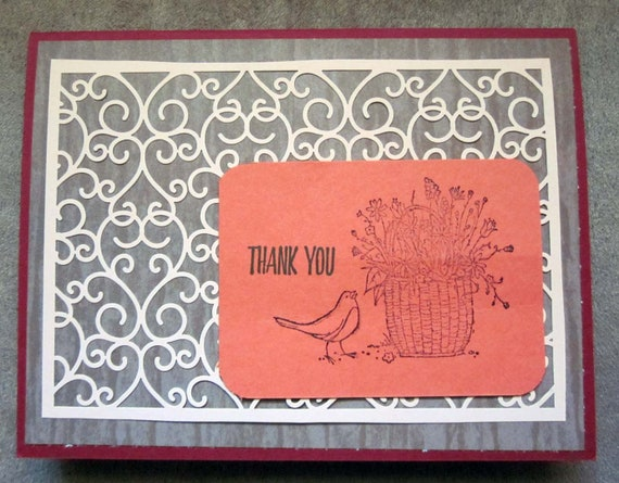 Handmade Thank You Card; Stampin' Up! thank you card; bird and basket thank you card; thanks card for essential worker, friend