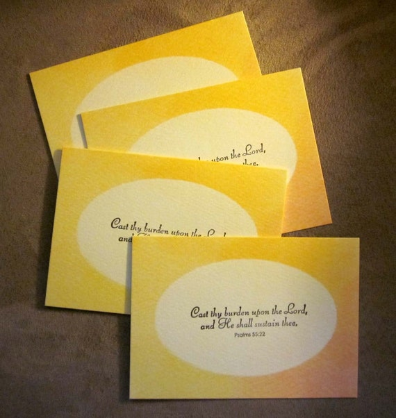 Set of 4 Handstamped Inspirational Note Card with Psalms 55:22 and yellow and orange watercolor background - Cast Thy Burden upon the Lord