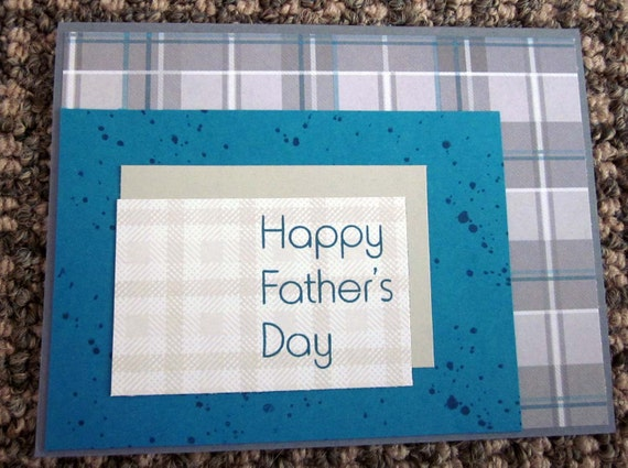 Handmade Father's Day Card for Dad featuring blue and grey plaids