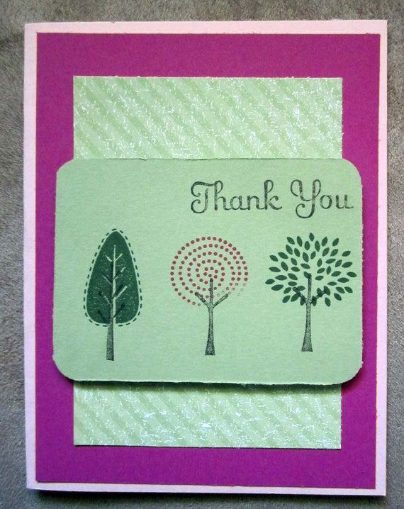 Handmade Thank You Card; Stampin' Up! thank you card; trio of trees thank you card; trees card