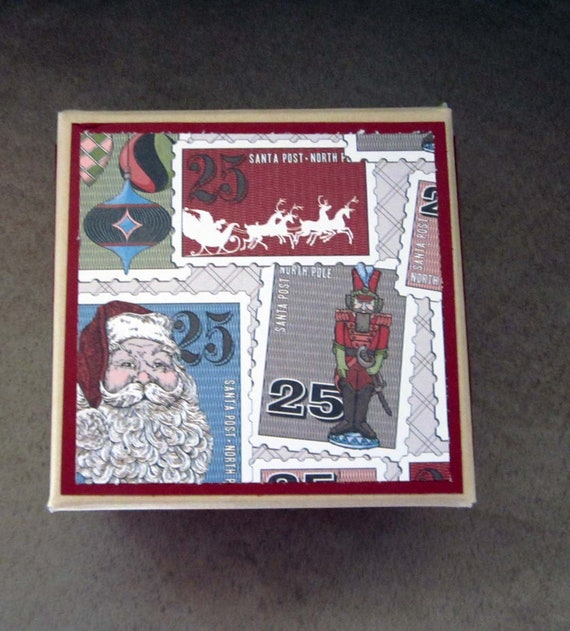 Decorated Christmas Gift Box for Small Present; recycled archival storage box; Gift Box for Christmas; Vintage Christmas