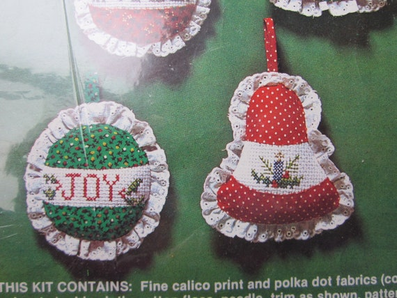 Holiday Ornament Kit - New in Package /  Christmas Ornament creativity kit / cross stitch Christmas ornaments / Bell ornaments