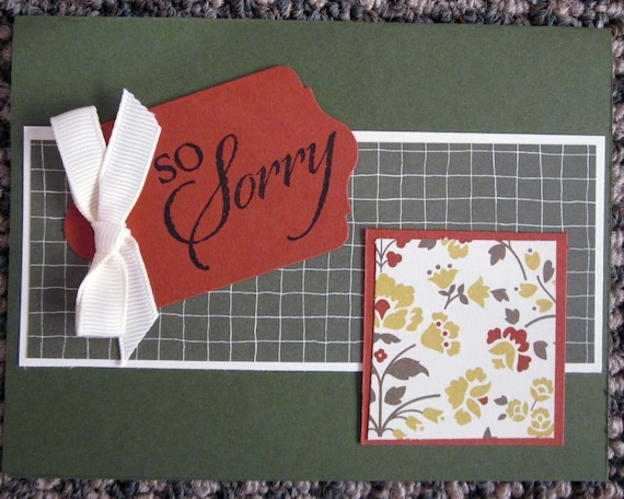 Sympathy/Sorry card handstamped; handmade So Sorry card; Stampin' Up! card; condolences card