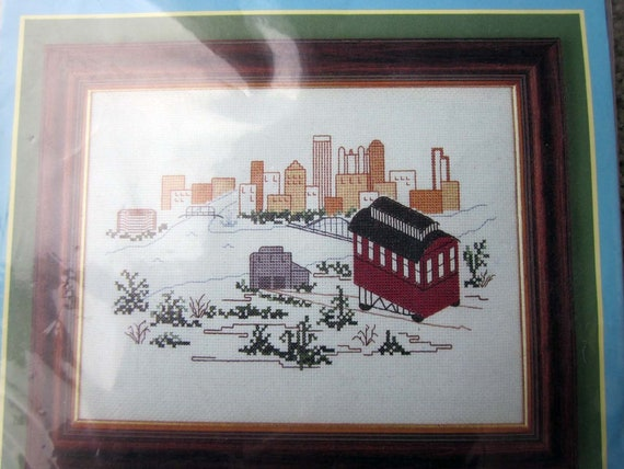 Pittsburgh Skyline and Incline counted cross stitch kit / Pittsburgh Incline cross stitch project / needlework about Pittsburgh