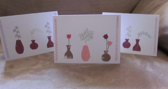 Set of 3 Blank Handmade Notecards; Clean and Simple Handmade Blank Note Cards; Perfect for Gardener; Blank Note Cards with Flower Vases