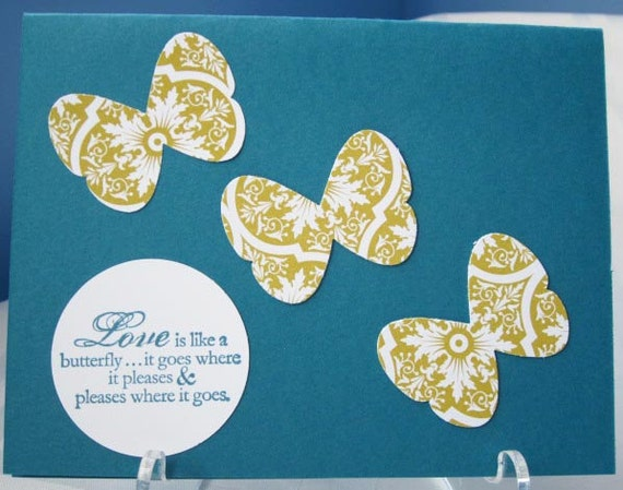 Handmade Butterfly Love Greeting Card in Turquoise Gold and White; Stampin Up Love Card