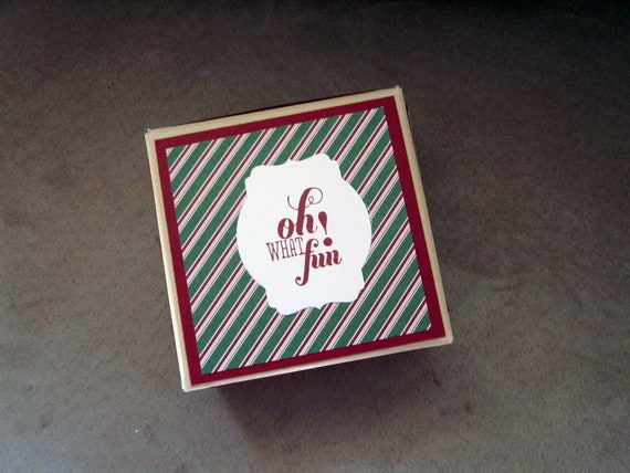 Decorated Christmas Gift Box for Small Present; recycled archival storage box; Gift Box for Christmas; Oh What Fun!