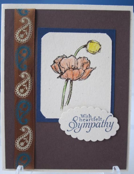 Handstamped Sympathy Card with Sketched Flower in Blues and Brown; Stampin Up Sympathy Cards