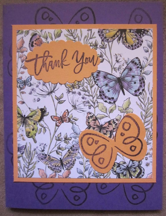 Handmade Thank You Card; Stampin' Up! thank you card; butterflies thank you card; butterfly thank you card