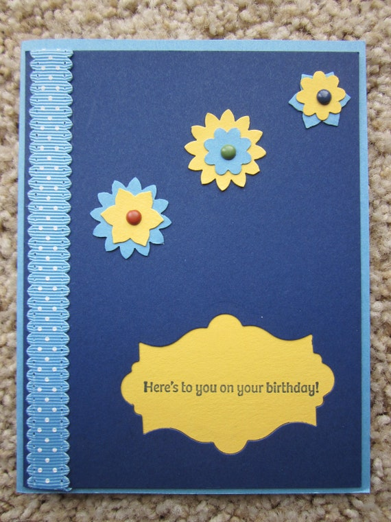 Birthday Card with flowers/starbursts; Stampin' Up! birthday card; handmade birthday card; birthday greeting card; fireworks birthday card