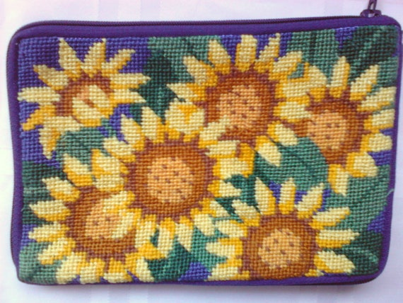Cosmetic Case / Sunflower Needlepoint / Needlepoint Gift / Needlepoint cosmetic kit / purse organizer / case for purse