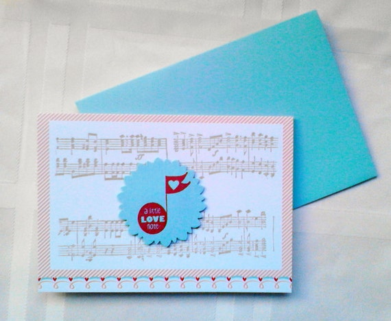Handstamped Mini Valentine's Day Card with Musical Notes and Matching Blue Envelope