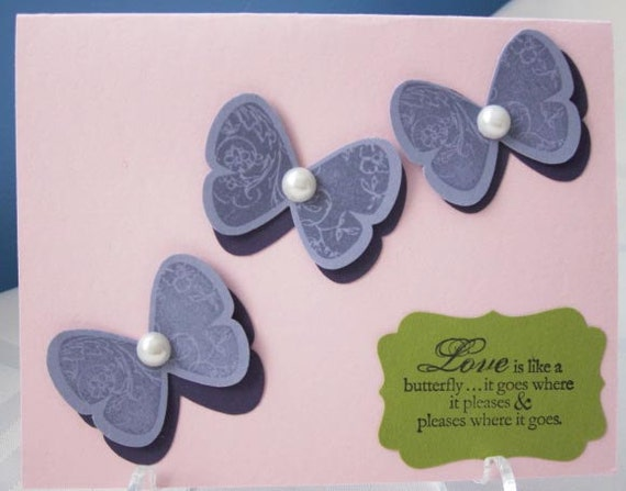 Handmade Love Greeting Card with Butterflies in Pink, Lavender and Purple; Wedding Card; Engagement Card; Love Card