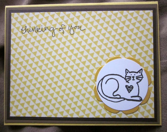 Handmade Thinking of You Card; Cat thinking of you card; pet loss card; anytime cat card; card for cat person; Stampin' Up! thinking of you