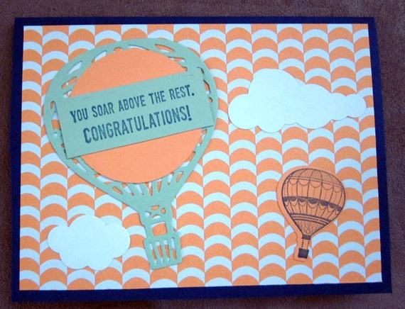 Handmade Congratulations Card with hot air balloons; Handmade note card with balloons; congratulations card