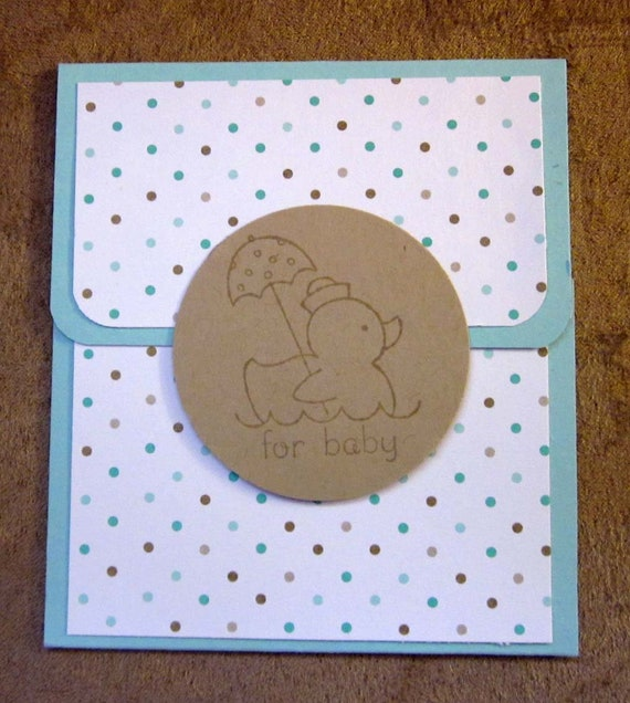 "Handmade Gift Card Holder for Baby Boy; Baby Shower Gift Card Holder; Blue Gift Card Holder ""For Baby""; Stampin Up Gift Card Holder"