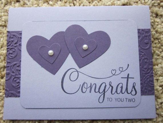 Handmade Wedding Card in purple and lavender / Stampin' Up! wedding card, bridal shower card, engagement card / Congrats to You Two Card
