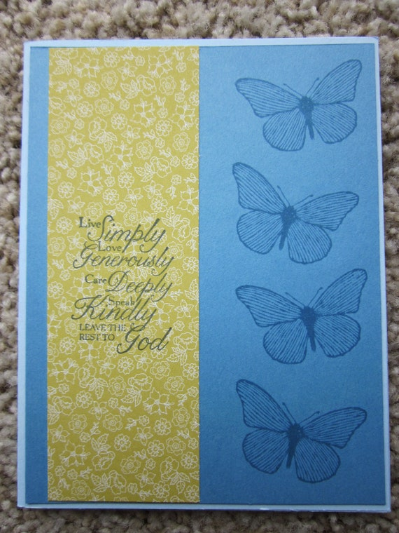 Handstamped Inspirational Card / Stampin Up inspiring card / rules for life card / butterfly card / blank greeting card / blank card
