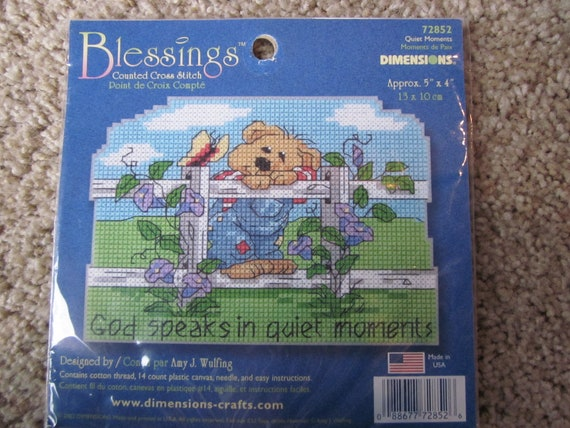 Plastic Canvas Counted Cross Stitch Kit / God speaks in quiet moments / inspirational plastic canvas kit