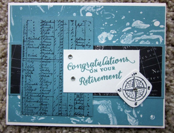 Retirement Card for man or sailor; retirement card for sea-lover; handmade retirement card; Stampin' Up! retirement card; retiring card
