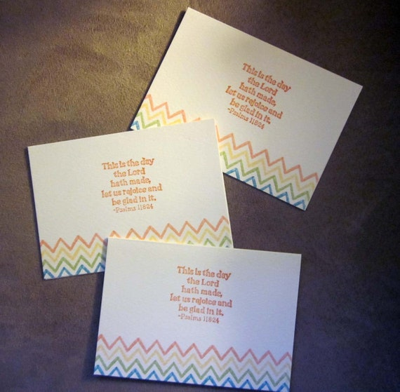 Set of 3 Handstamped Inspirational Note Cards with Psalms 118:24 with brightly colored stripes - This is the day the Lord hath made