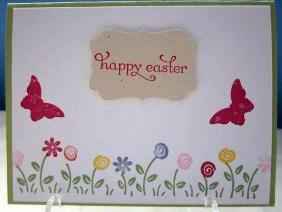 Handstamped Easter Card with Flower Border and Pink Butterflies; Stampin' Up! Easter card; Happy Easter card
