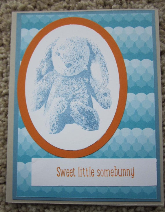 Baby Boy card / card for baby boy / card for young boy / 1st birthday card for boy / Stampin' Up! baby birthday card / rabbit baby card