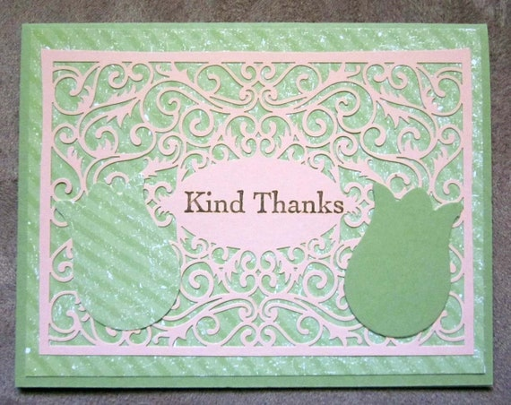 Handmade Thank You Card; Stampin' Up! thank you card; kind thanks; tulip card; scroll work card