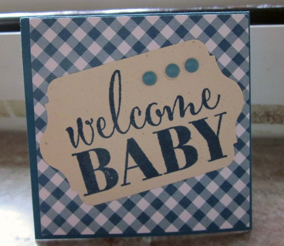 Handstamped Mini Card For Baby Boy Gift in Blue; Welcome Baby card; Stampin' Up! baby boy card; baby boy greeting card