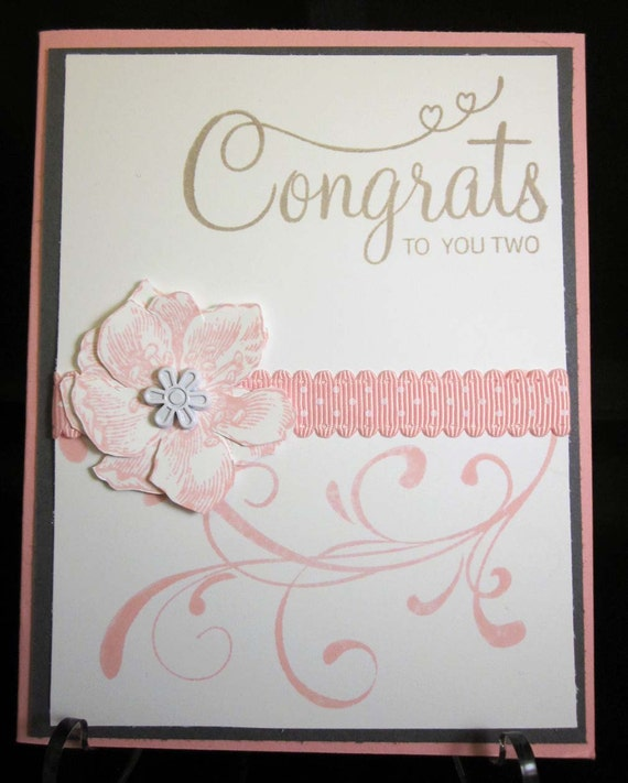 Handmade Wedding Card with scroll work and cut flowers in pink, grey and beige; Stampinup Up Wedding Card