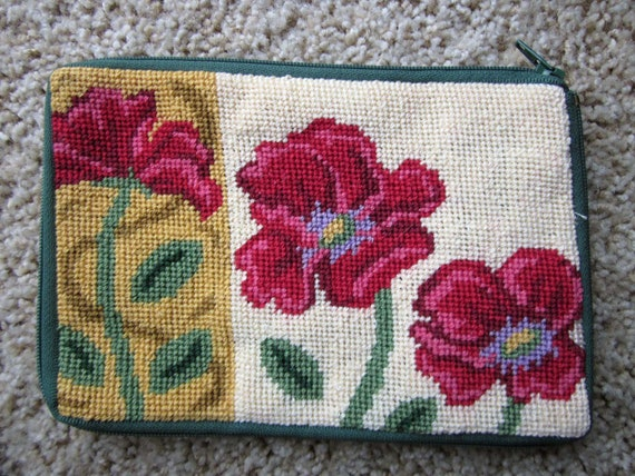 Cosmetic Case / Poppy Needlepoint Pouch / Stitch and Zip needlepoint / purse / pouch for handbag / gift for gardener / gift for woman