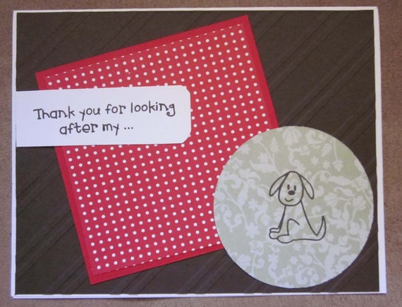 Handmade Thank You Card for Dog ; Card for pet sitter; thank you card pet sitter; dog lover card