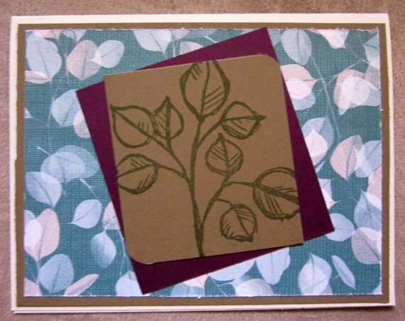Handmade Floral Card; blank inside; blank leaf note card; note card for gardener or other nature lover; Stampin' Up! greeting card