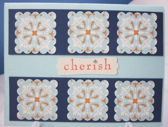 Handmade Love / Cherish Greeting Card in Light Blue and Navy with Floral Patterned Paper; Stampin Up Love Card