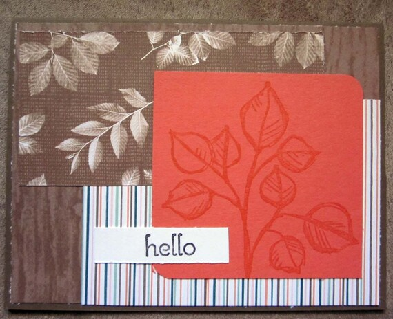 Hello greeting card; handmade Stampin' Up! greeting card; say Hello, blank greeting card with hello; floral patterned greeting card