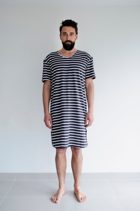 100% original delicate colors factory outlets Charcoal Stripe Organic Cotton Men's Pyjama Nightshirt, Sleepwear,  Nightwear, pyjamas